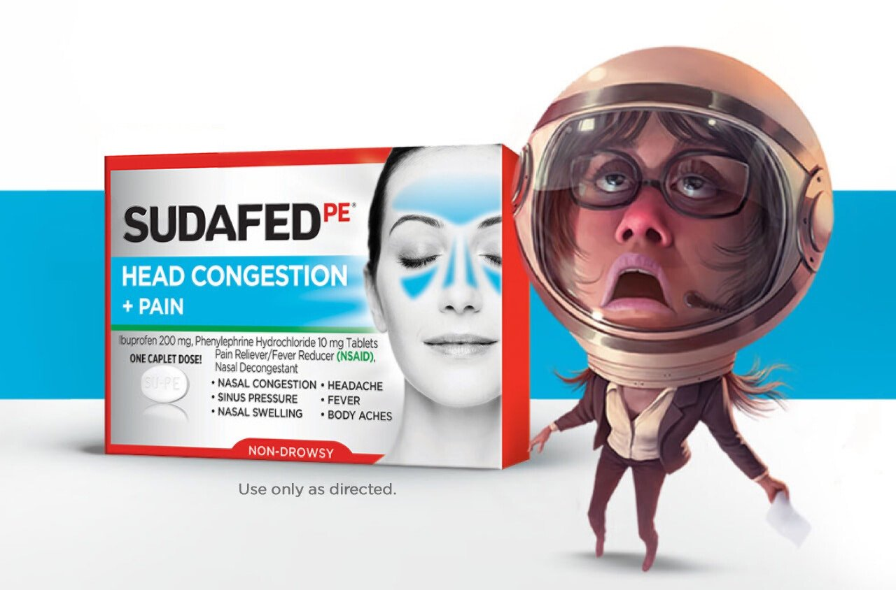 astronaut character with SUDAFED Head Congestion + Pain product