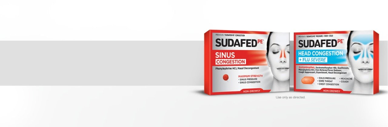 SUDAFED PE Sinus Congestion & SUDAFED PE Head Congestion + Flu Severe product