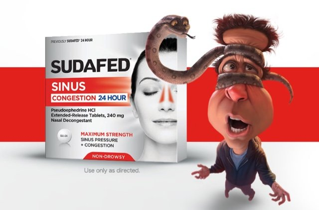 Snake man character with SUDAFED Sinus Congestion 24 hour product