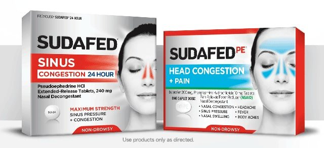 Sudafed sinus congestion and Sudafed PE Head Congestion packages